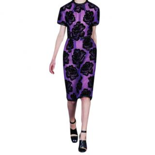 Christopher Kane Purple Leather trimmed Flocked Tulle Dress
