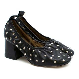 Celine Black Leather Studded Pumps