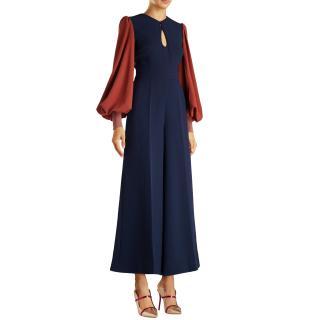 Roksanda Blue Aunya Two-tone Crepe Jumpsuit