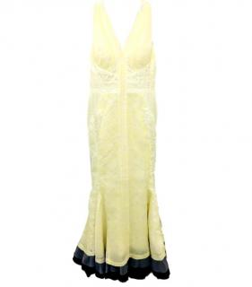 J.Mendel Pale Yellow Brocade Fishtail Gown