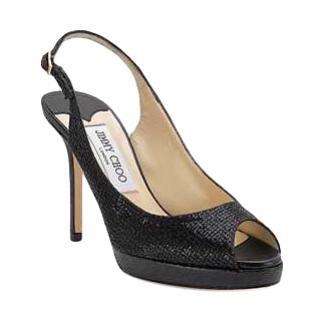 Jimmy Choo Nova Glitter Fabric Slingback Platform Sandals