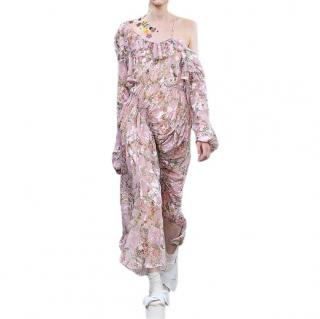 Preen by Thornton Bregazzi Pink Floral Asymmetric Dress
