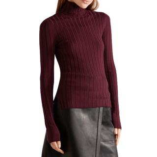 Acne Studios Burgundy Wool Rib Sweater