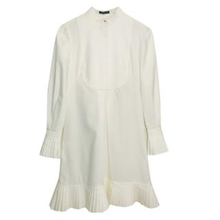Alexander McQueen White High Neck Shirt Dress