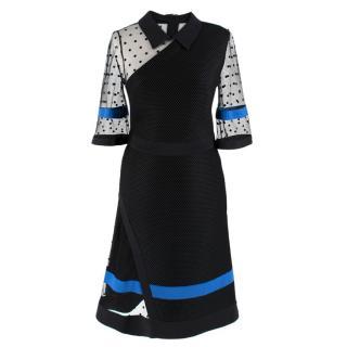 Emanuel Ungaro Black Neoprene Tulle Panelled Dress