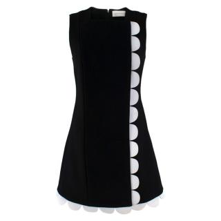 Victoria Victoria Beckham Wool Embellished Scallop Trim Dress
