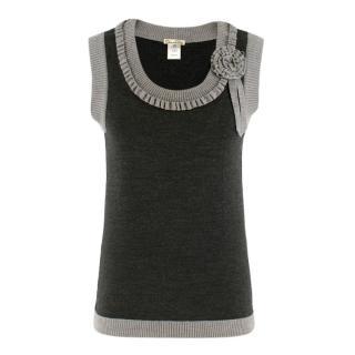 Oscar de la Renta Grey Wool Sleeveless Knit Top