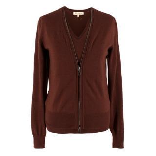 Celine Brown Wool-blend Top & Cardigan Set