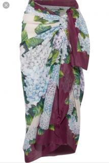 Dolce & Gabbana Hydrangea Hortensia Printed Wrap/Sarong/Scarf