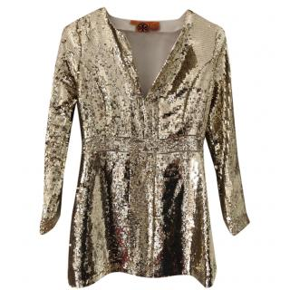 Tory Burch Metallic Gold Sequin Mini Dress