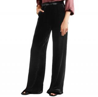 Etro Black High Rise Velvet Wide-Leg Pants