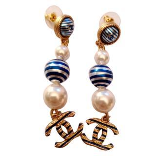 Chanel Nautical Striped Pearl Drop Earrings