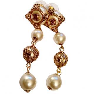 Chanel Faux Pearl & Gold Tone Drop CC Earrings