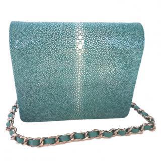 Hidetoshi turquoise stingray leather shoulder bag