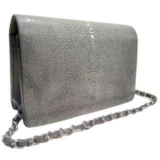 Hidetoshi grey stingray leather shoulder bag