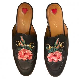 Gucci Floral Embroidered Princetown Slippers