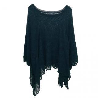 Valentino Black Knit Poncho