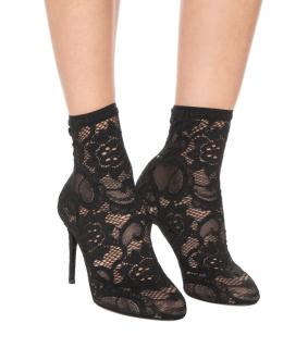 Dolce & Gabbana Black Lace Sock  Ankle boots