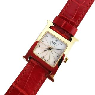 Hermes Vintage Heure H Watch with red croc strap
