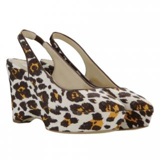 Stella McCartney Nathalie Leopard Print Canvas Wedges