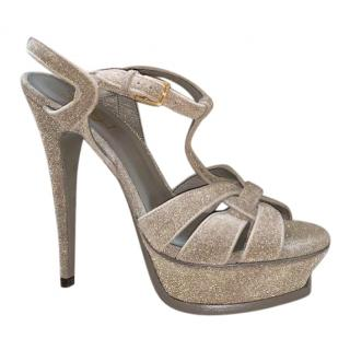 Saint Laurent sparkly taupe velvet tribute sandals