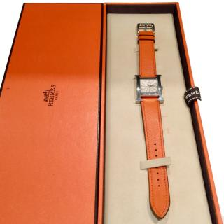 Hermes classic 26 mm H Heure watch with orange leather strap
