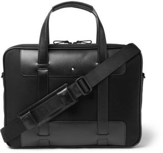 Mont Blanc Nightflight Leather-Trimmed Nylon Briefcase