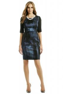 Elie Tahari blue and black jacquard dress