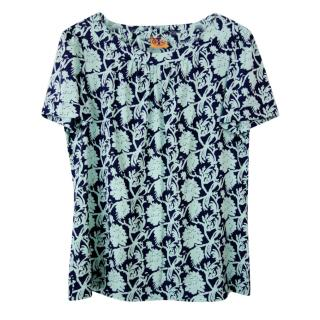 Tory Burch Blue Satin Printed Top