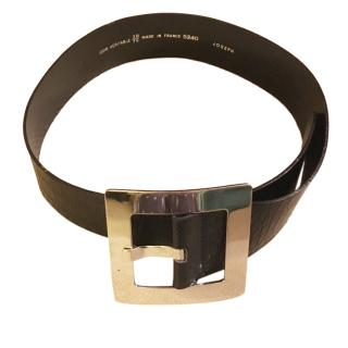 Joseph wide black mock croc leather belt