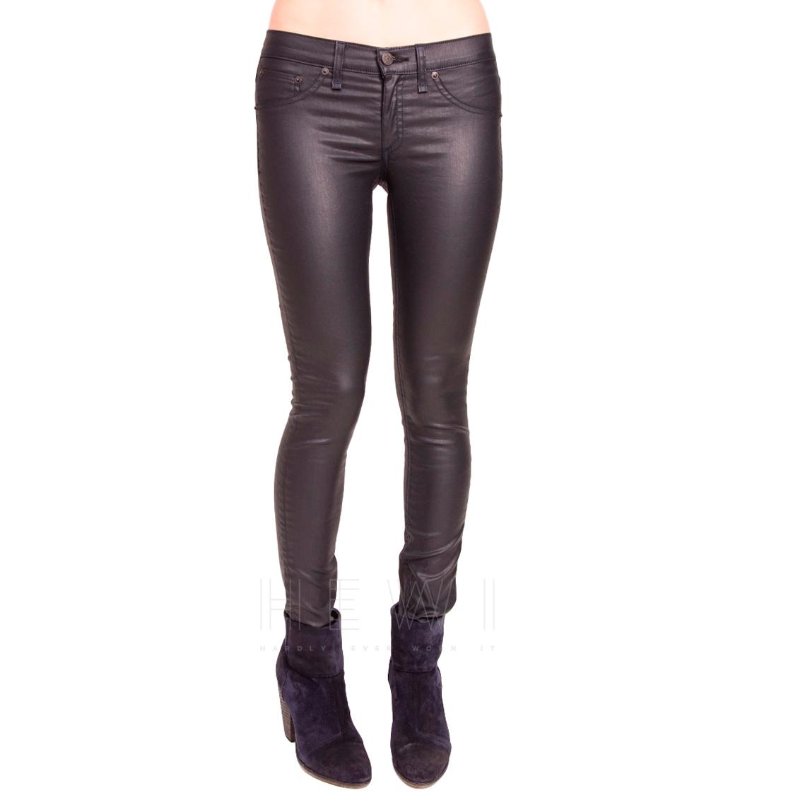 Rag & Bone Zipped-Hem Wet-Look Jeans