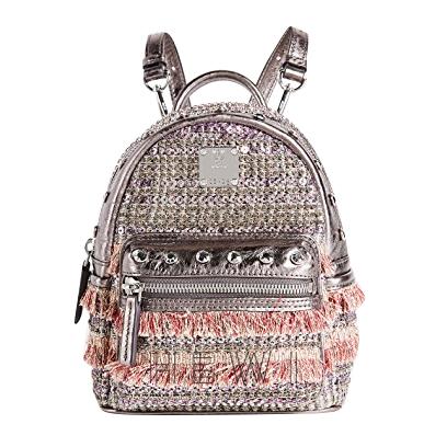 MCM Crystal-Stud Embellished Mini Tweed Backpack