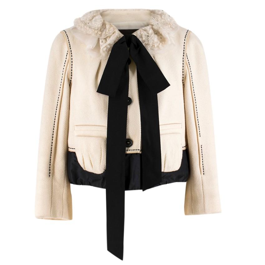 Louis Vuitton Ruffle-Collar Cream Wool-Blend Jacket