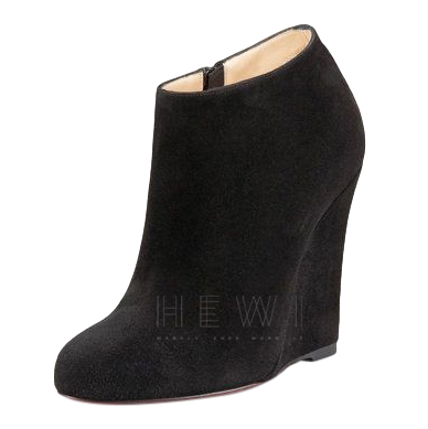 promo code 9c0a6 f11d6 Christian Louboutin Black Suede Wedge Booties