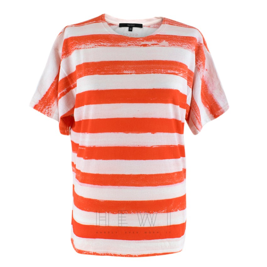 Gucci Red & White Striped Cotton T-shirt