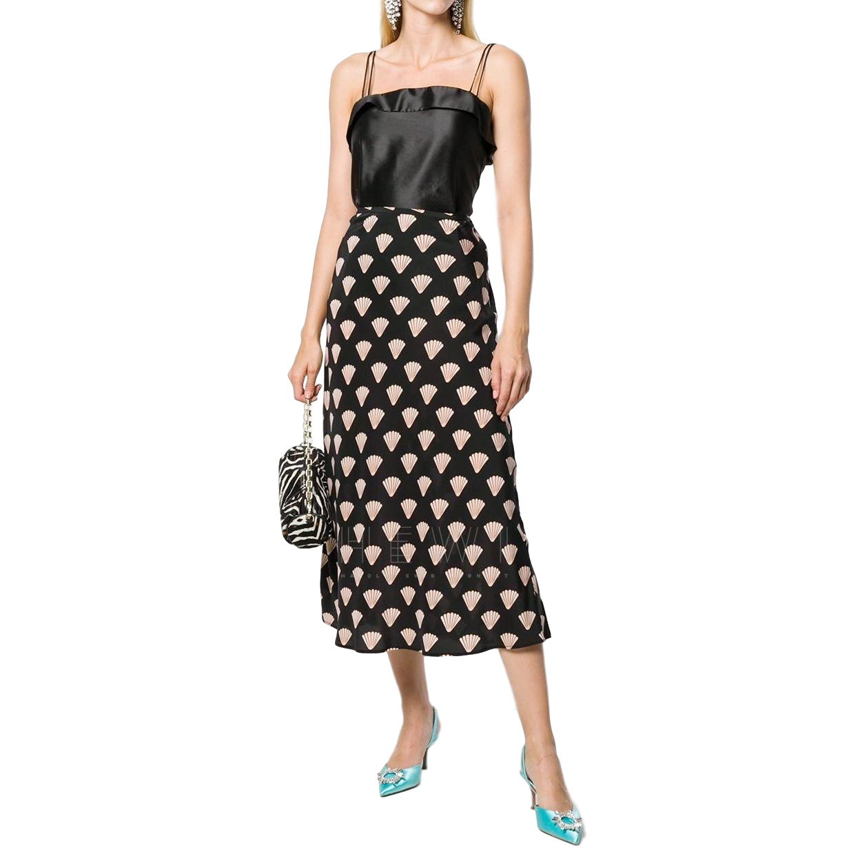 Rixo Kelly Shell-Print Midi Skirt