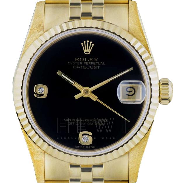 Rolex Datejust 68278 Onyx-Dial 18k Gold Watch