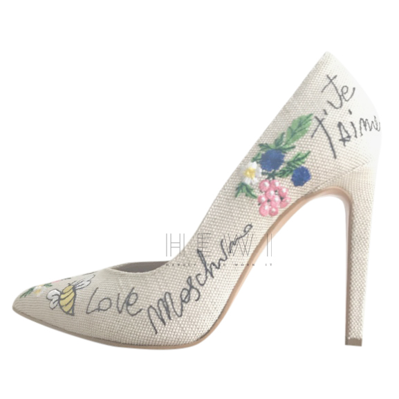 Moschino Love Moschino Embroidered Canvas Pumps