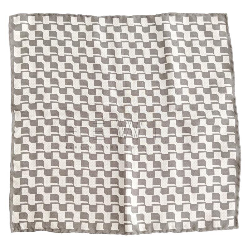 Hugo Boss gray and white check silk square