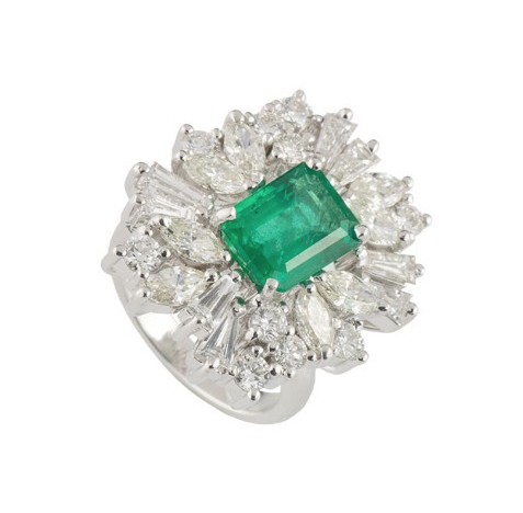 Bespoke White Gold Diamond and Emerald Ring