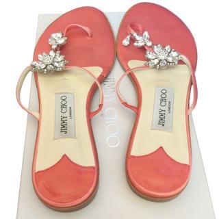 Jimmy Choo Cynthia Coral Satin Sandals