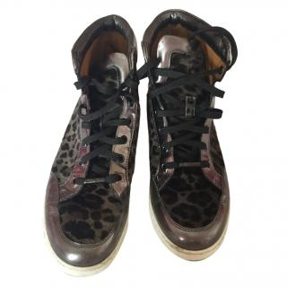 Jimmy Choo leopard print high top trainers