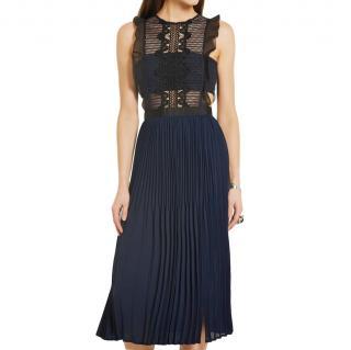 Self Portrait Blue Sleeveless Lace & Pleated Chiffon Dress