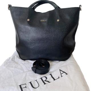 Furla Black Leather Tote Bag