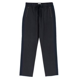 Lanvin en Bleu Navy Cotton-blend Pinstriped Trousers