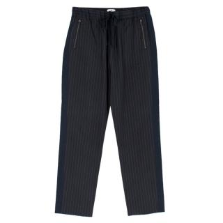 Lanvin en Bleu Navy Cotton-blend Pinstriped Trousers