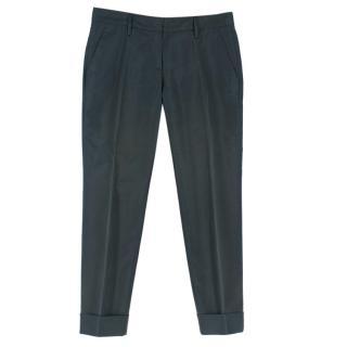 Prada Dark-Green Silk-Blend Taffeta Trousers