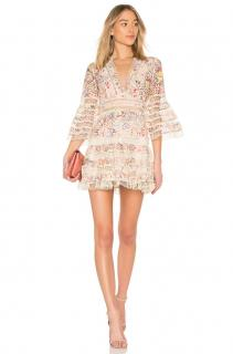 Zimmerman Laelia Flutter Eyelet V-Neck Mini Dress Dress