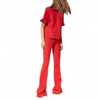 Victoria Victoria Beckham Red Wool Top & Trousers Suit