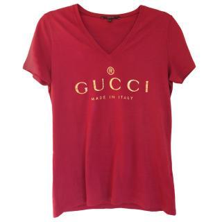 Gucci maroon v neck t shirt